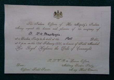 Antique Indian Officers Military Invitation Delhi Fort Duke Connaught India 1921